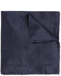 dunkelblaues Seide Einstecktuch von Alexander McQueen