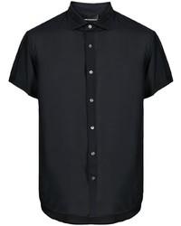 dunkelblaues Seide Kurzarmhemd von Emporio Armani