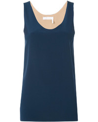 dunkelblaues Seide Trägershirt von Chloé