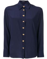 dunkelblaues Seidehemd von Balmain