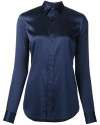 dunkelblaues Seidehemd von Ralph Lauren