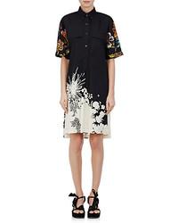 Dunkelblaues Shirtkleid mit Blumenmuster von Dries Van Noten