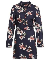 dunkelblaues Shirtkleid mit Blumenmuster von Only