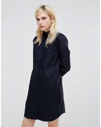 dunkelblaues Shirtkleid mit Vichy-Muster