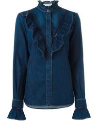 dunkelblaues Spitzehemd von Stella McCartney