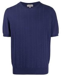 dunkelblaues Strick T-Shirt mit einem Rundhalsausschnitt von Canali
