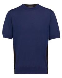 dunkelblaues Strick T-Shirt mit einem Rundhalsausschnitt von Prada