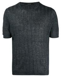 dunkelblaues Strick T-Shirt mit einem Rundhalsausschnitt von Tagliatore