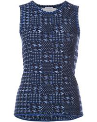 dunkelblaues Strick Wollträgershirt von Oscar de la Renta