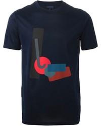 dunkelblaues T-Shirt mit einem Rundhalsausschnitt mit geometrischen Mustern
