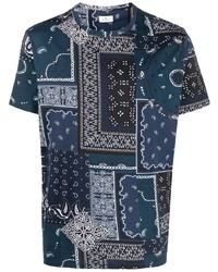 dunkelblaues T-Shirt mit einem Rundhalsausschnitt mit Paisley-Muster von Etro