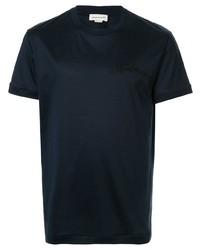 dunkelblaues T-Shirt mit einem Rundhalsausschnitt von Alexander McQueen
