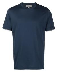 dunkelblaues T-Shirt mit einem Rundhalsausschnitt von Canali
