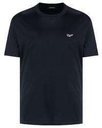 dunkelblaues T-Shirt mit einem Rundhalsausschnitt von Ermenegildo Zegna