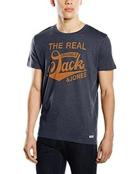 dunkelblaues T-Shirt mit einem Rundhalsausschnitt von Jack & Jones