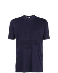 dunkelblaues T-Shirt mit einem Rundhalsausschnitt von Love Moschino