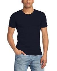 dunkelblaues T-Shirt mit einem Rundhalsausschnitt von Minimum