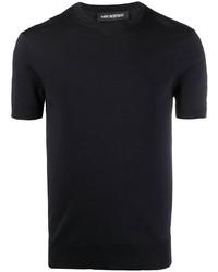 dunkelblaues T-Shirt mit einem Rundhalsausschnitt von Neil Barrett