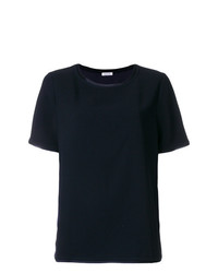 dunkelblaues T-Shirt mit einem Rundhalsausschnitt von P.A.R.O.S.H.