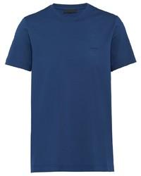 dunkelblaues T-Shirt mit einem Rundhalsausschnitt von Prada