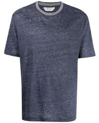 dunkelblaues T-Shirt mit einem Rundhalsausschnitt von Z Zegna