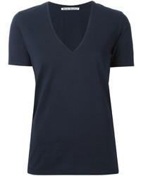dunkelblaues T-Shirt mit einem V-Ausschnitt