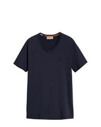 dunkelblaues T-Shirt mit einem V-Ausschnitt von Burberry