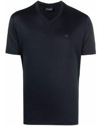dunkelblaues T-Shirt mit einem V-Ausschnitt von Emporio Armani