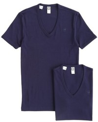 dunkelblaues T-Shirt mit einem V-Ausschnitt von G-Star RAW