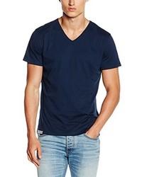 dunkelblaues T-Shirt mit einem V-Ausschnitt von HÄRVIST