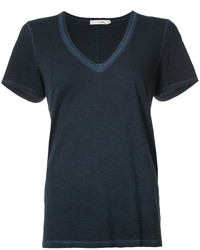 dunkelblaues T-Shirt mit einem V-Ausschnitt von Rag & Bone