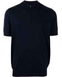 dunkelblaues T-shirt mit einer Knopfleiste von Brunello Cucinelli