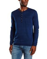 dunkelblaues T-shirt mit einer Knopfleiste von Tom Tailor