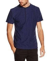 dunkelblaues T-shirt mit einer Knopfleiste von Tommy Hilfiger