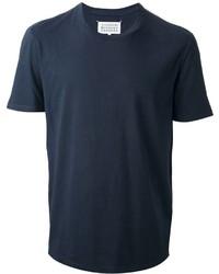 dunkelblaues T-Shirt mit Rundhalsausschnitt
