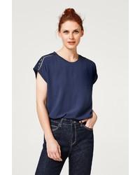 dunkelblaues T-Shirt mit einem Rundhalsausschnitt von Esprit