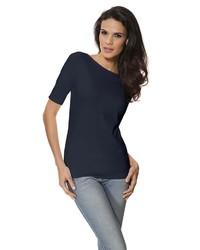 dunkelblaues T-Shirt mit einem Rundhalsausschnitt von PATRIZIA DINI by Heine