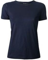 dunkelblaues T-Shirt mit einem Rundhalsausschnitt von Salvatore Ferragamo