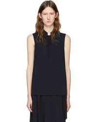 dunkelblaues Trägershirt mit Rüschen von Miu Miu