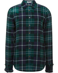Dunkelblaues und grünes Businesshemd mit Schottenmuster