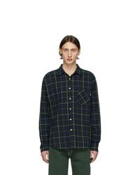 dunkelblaues und grünes Flanell Langarmhemd mit Schottenmuster