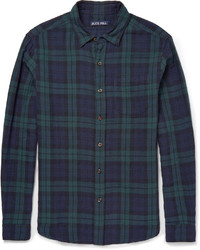 dunkelblaues und grünes Langarmhemd mit Schottenmuster