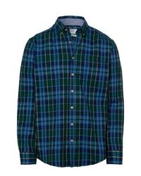 dunkelblaues und grünes Langarmhemd mit Schottenmuster von Brax
