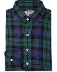 dunkelblaues und grünes Langarmhemd mit Schottenmuster von Drakes