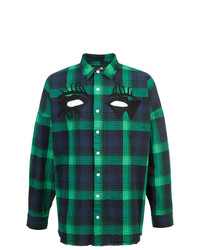 dunkelblaues und grünes Langarmhemd mit Schottenmuster von Haculla