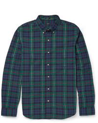 dunkelblaues und grünes Langarmhemd mit Schottenmuster von J.Crew