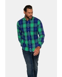 dunkelblaues und grünes Langarmhemd mit Schottenmuster von JP1880