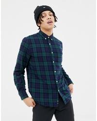 dunkelblaues und grünes Langarmhemd mit Schottenmuster von Penfield