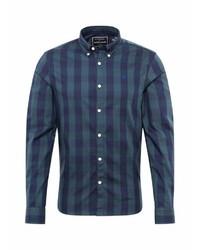 dunkelblaues und grünes Langarmhemd mit Schottenmuster von Scotch & Soda