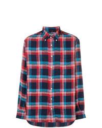 dunkelblaues und rotes Langarmhemd mit Schottenmuster